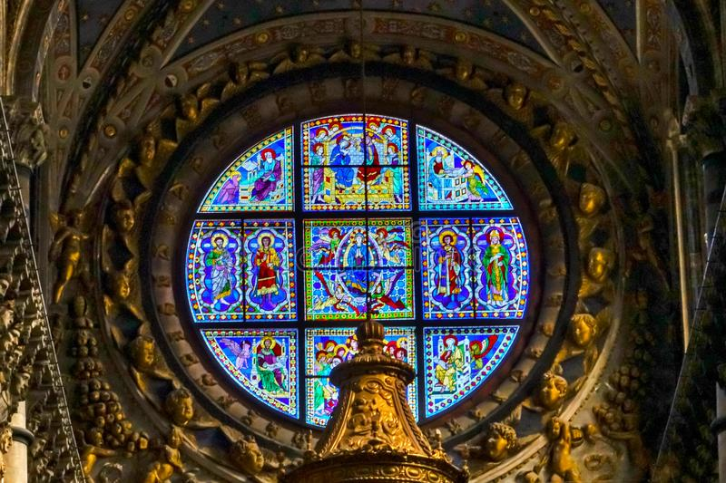 Basilica Blue Virgin Mary Saints Rose Window Stained Glass Cathedral Church Siena Italy. stock photo