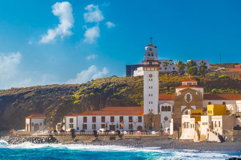 Basilica of Candelaria and pebble beach in Tenerife royalty free stock photo
