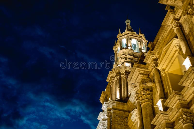 Basilica Cathedral of Arequipa, Peru. At night time stock photo