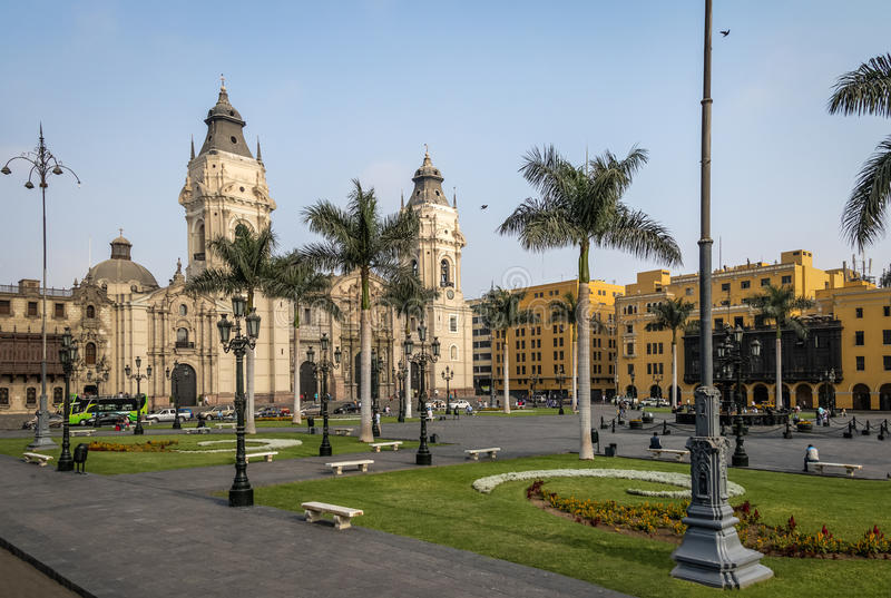 The Basilica Cathedral of Lima at Plaza Mayor - Lima, Peru royalty free stock photos