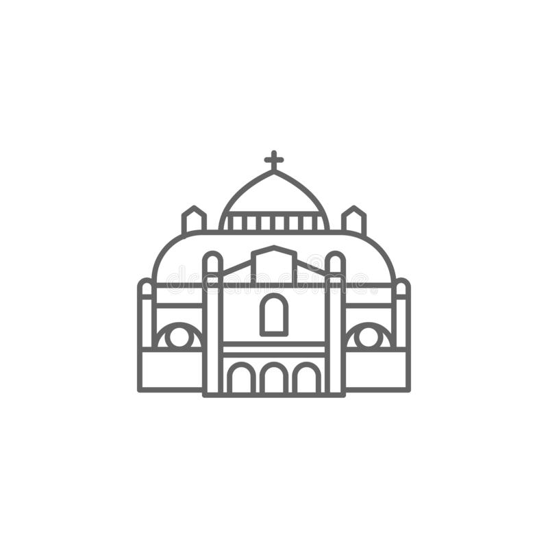Basilica, catholic icon. Element of Paris icon. Thin line icon for website design and development, app development vector illustration