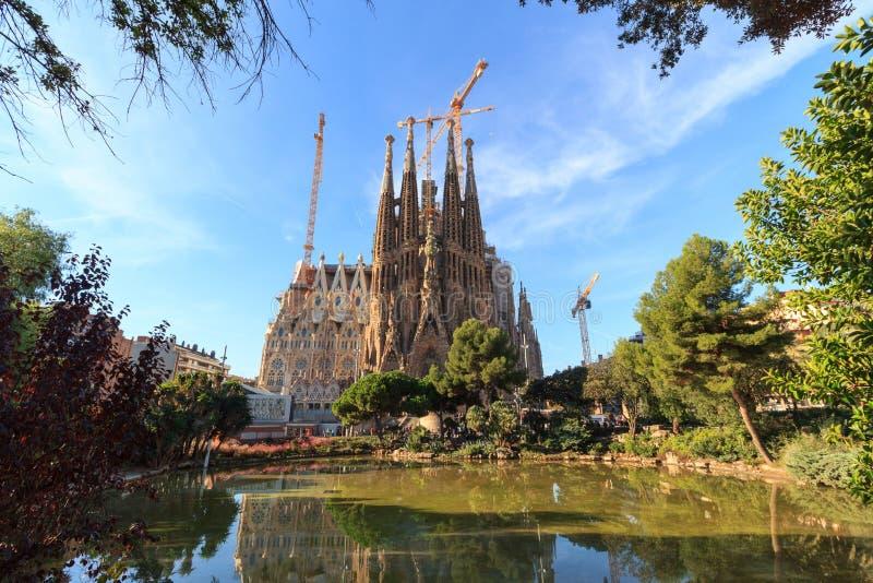 Basilica church Sagrada Familia seen from Placa de Gaudi in Barcelona stock photo