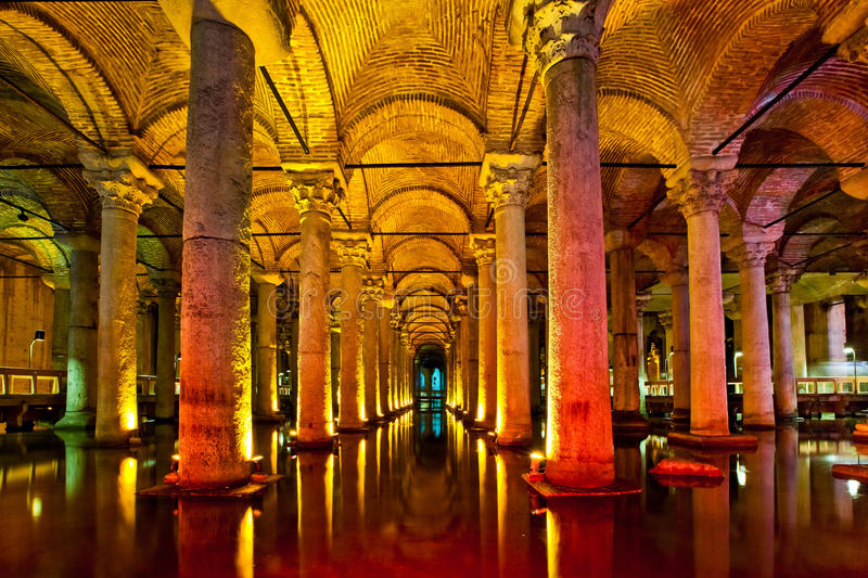 The Basilica Cistern interior in Istanbul royalty free stock image