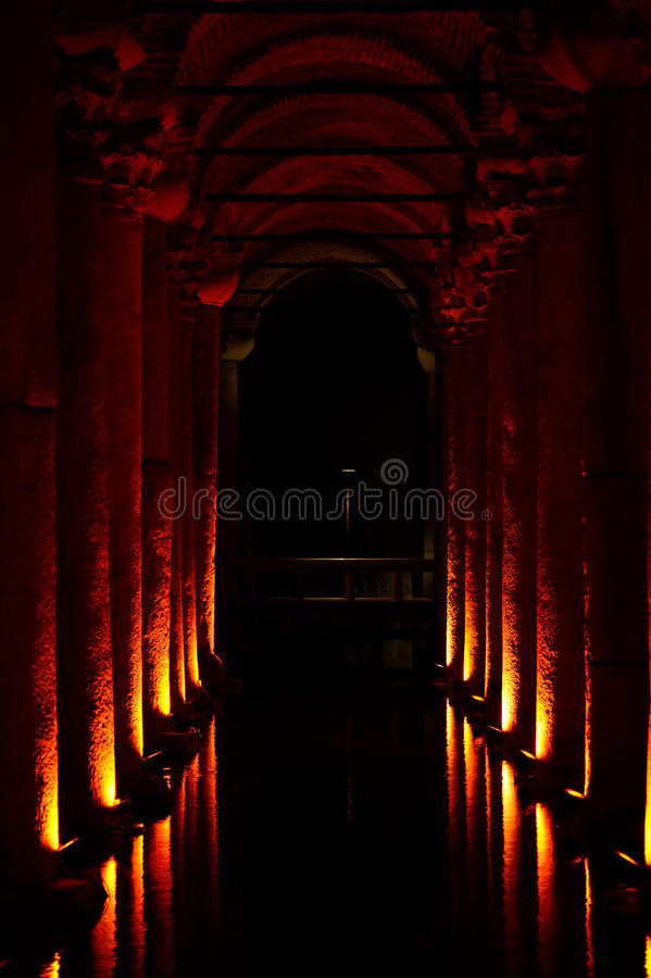 Basilica Cistern, Istanbul, Turkey stock images