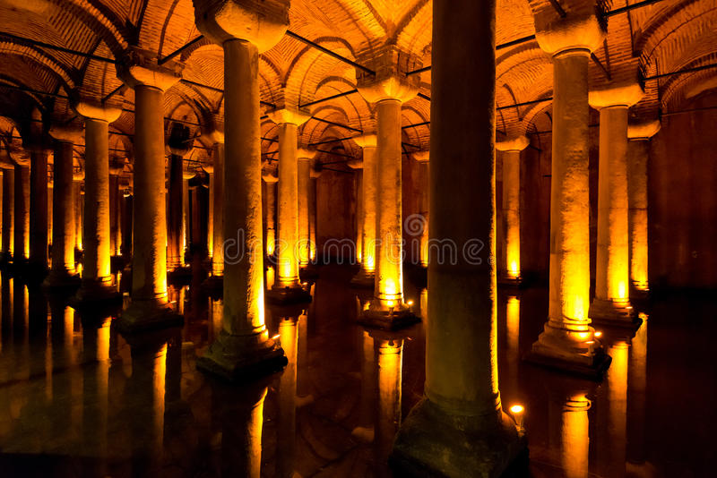 The Basilica Cistern in Istanbul, Turkey stock photography