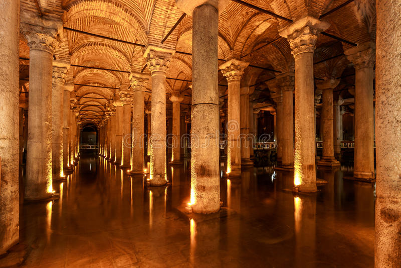 Basilica Cistern (Istanbul, Turkey) stock images