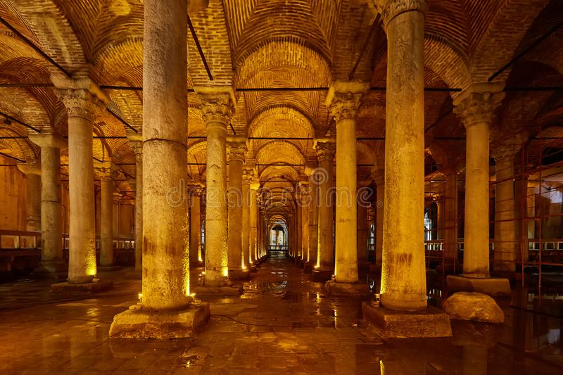 The Basilica Cistern - underground water reservoir build by Emperor Justinianus in 6th century, Istanbul, Turkey stock image