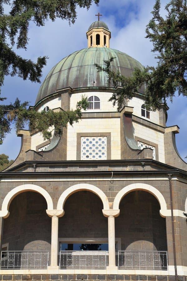Basilica and colonnade at Mount Beatitudes stock photos