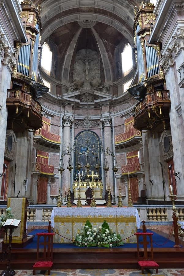 Basilica de Nossa Senhora in Mafra, Portugal. Interior of the Basilica de Nossa Senhora e Santo Antonio de Mafra. Belonged to the Franciscan order. Baroque stock photography