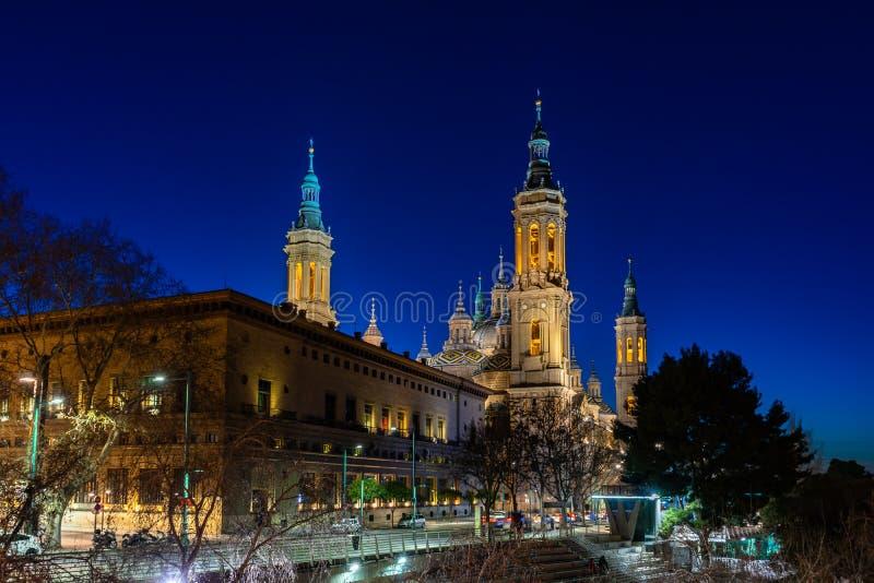 Basilica de Nuestra Señora del Pilar Cathedral in Zaragoza, Spain royalty free stock photography