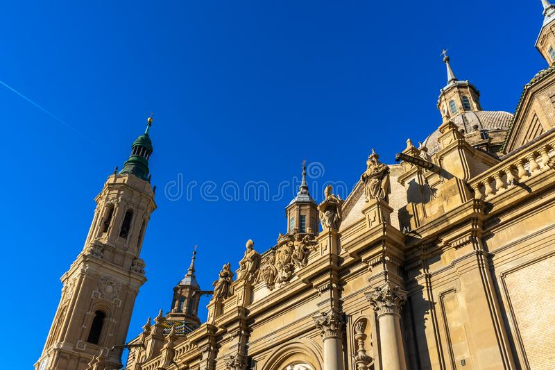 Basilica de Nuestra Señora del Pilar Cathedral in Zaragoza, Spain stock images