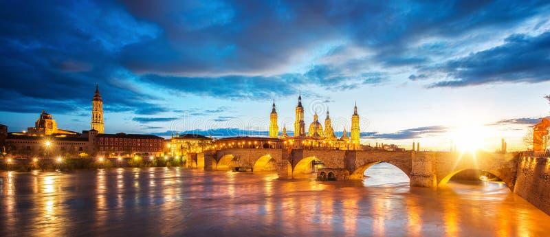 Basilica de Nuestra Senora del Pilar and Ebor River in the Evening royalty free stock image