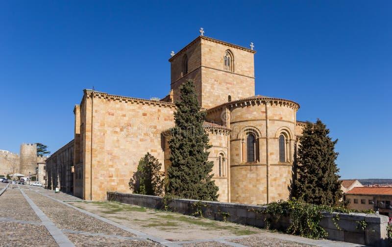 Basilica de San Vicente nel centro storico di Avila fotografia stock