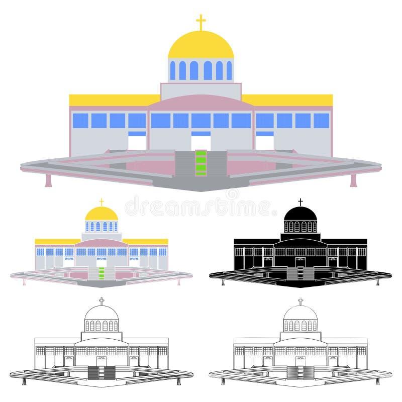 Basilica del padre eterno divino, Trindade, Brasile illustrazione vettoriale