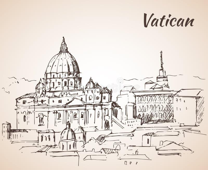 Basilica del `s della st Peter Paesaggio di Città del Vaticano abbozzo illustrazione di stock