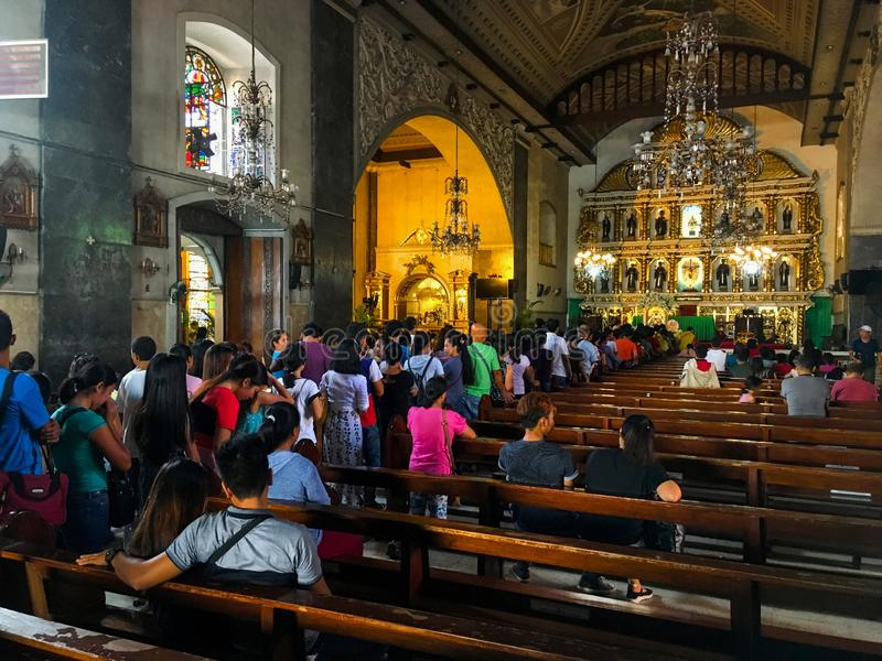 Basilica del Santo Nino in Cebu City, Philippines. Cebu City, Philippines - September 29, 2018: Interior of the Basilica Minore del Santo Nino, Cebu City royalty free stock photography