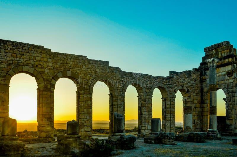 Basilica del sito di Volubilis fotografia stock libera da diritti
