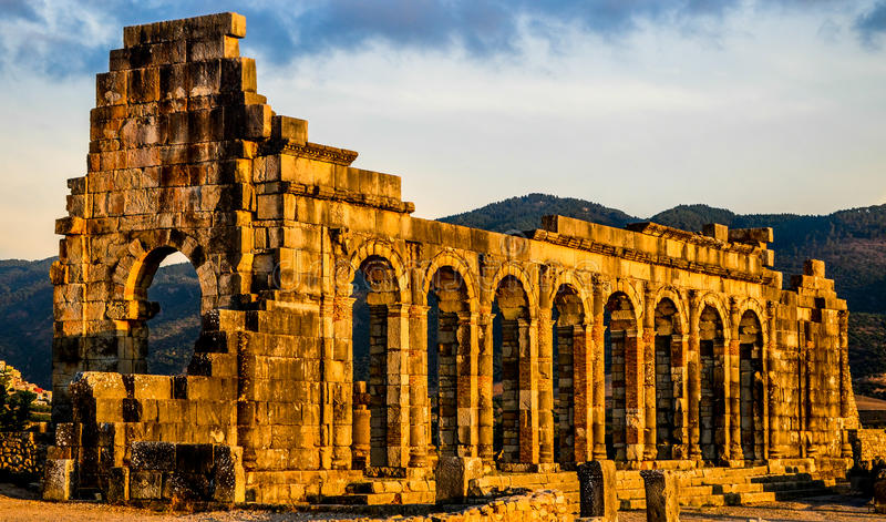 Basilica del sito di Volubilis immagine stock