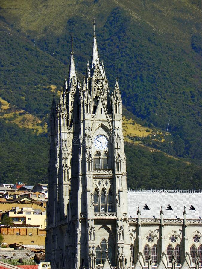 Basilica del Voto Nacional, Quito, Ecuador. Towers of Basilica del Voto Nacional and view at historic city center. Quito, Ecuador royalty free stock photo