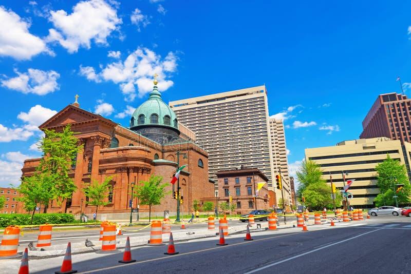 Basilica della cattedrale dei san Peter e Paul nel PA di Filadelfia immagini stock