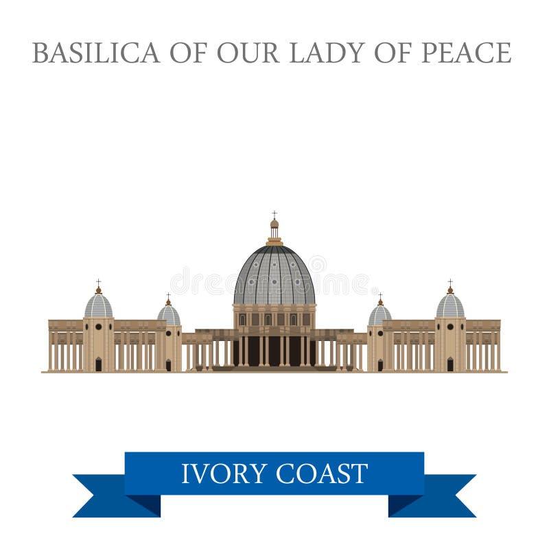 Basilica della nostra signora di pace a Yamoussoukro Ivor illustrazione vettoriale