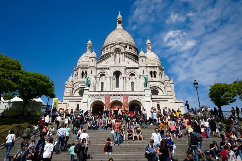Basilica di Basilique du Sacré-Coeur de Montmartre del cuore sacro fotografia stock