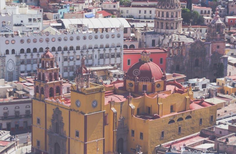 Basilica di Colegiata nella città di Leon Guanajuato Mexico fotografia stock libera da diritti