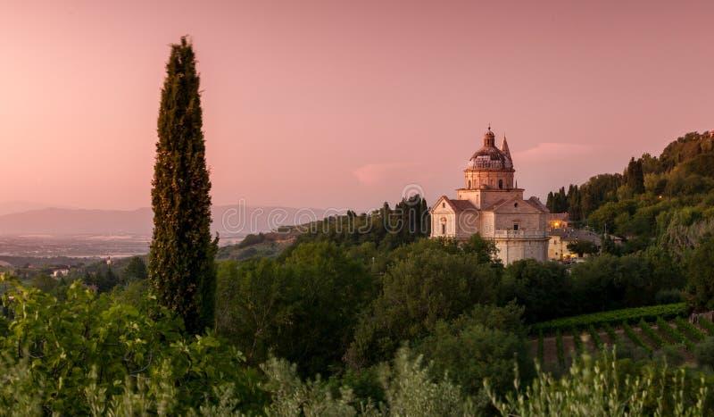 Basilica di San Biagio, Tuscany, Italy. Basilica di San Biagio at dusk, Montepulciano, Tuscany, Italy royalty free stock image