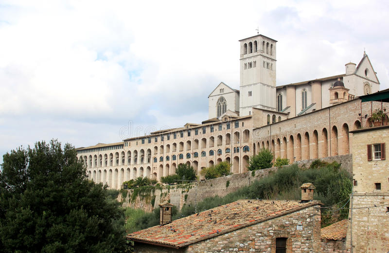 Basilica di San Francesco in Assissi, Italy. Assisi is best known as the birthplace of St. Francis of Assisi — patron saint of Italy, founder of the royalty free stock images