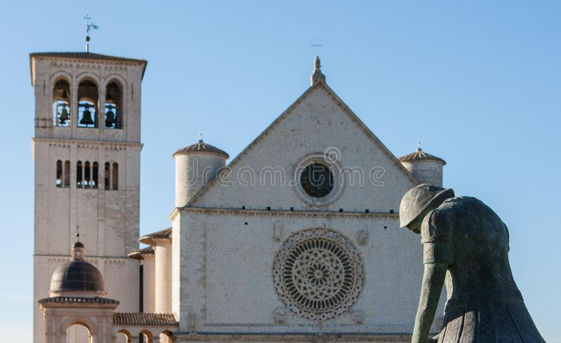 Basilica di San Francesco (St Francis), Assisi, Umbria, Italia fotografia stock libera da diritti