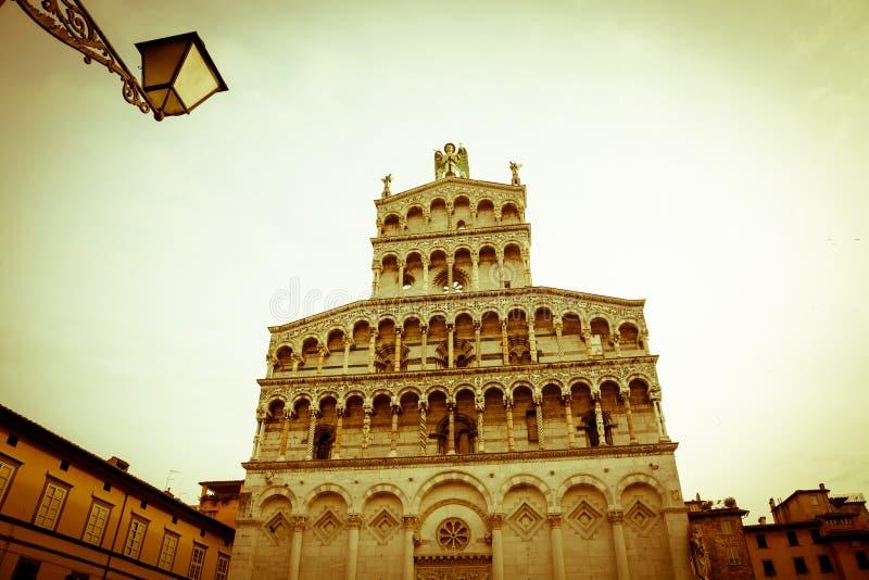 Basilica di San Michele in foro, Lucca - annata immagine stock