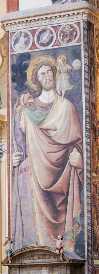 Basilica di San Petronio, Bologna - San Cristoforo immagine stock libera da diritti