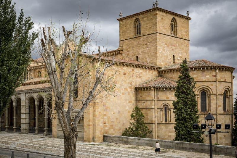 Basilica di San Vicente nella città di Avila fotografia stock
