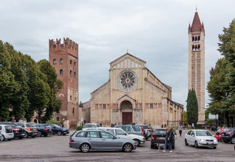 Basilica di San Zeno Maggiore en Verona imagen de archivo