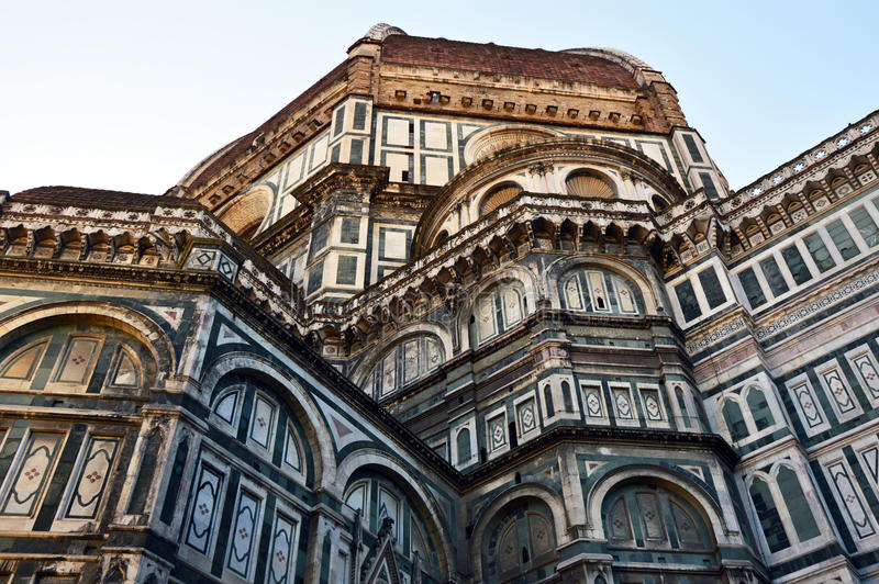 The Basilica di Santa Maria del Fiore Basilica of Saint Mary of the Flower with Brunelleschi dome, Florence, Italy.  stock images