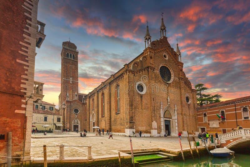 Basilica di Santa Maria Gloriosa dei Frari in Venice city at sunset, Italy royalty free stock images