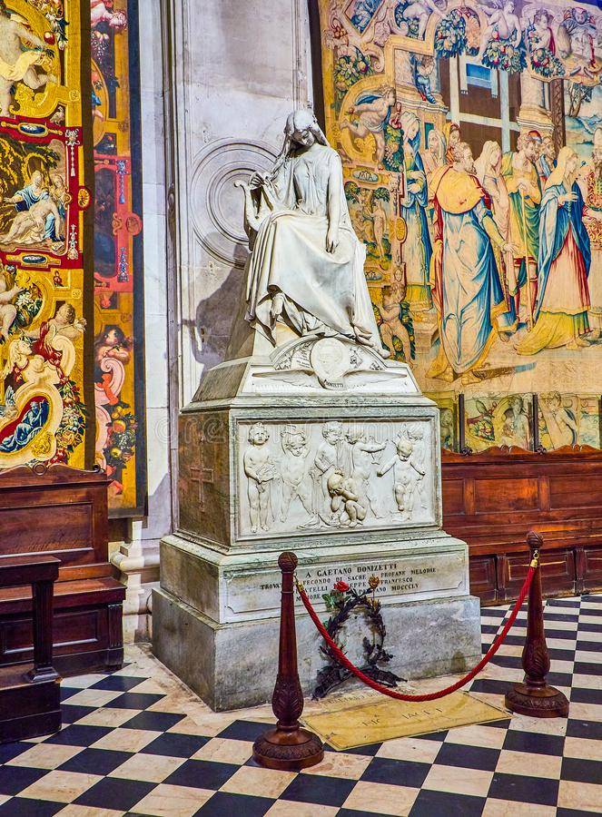 The Basilica di Santa Maria Maggiore. Bergamo, Lombardy, Italy. Bergamo, Italy - January 3, 2019. Funeral monument of Gaetano Donizetti in The Basilica di Santa stock image