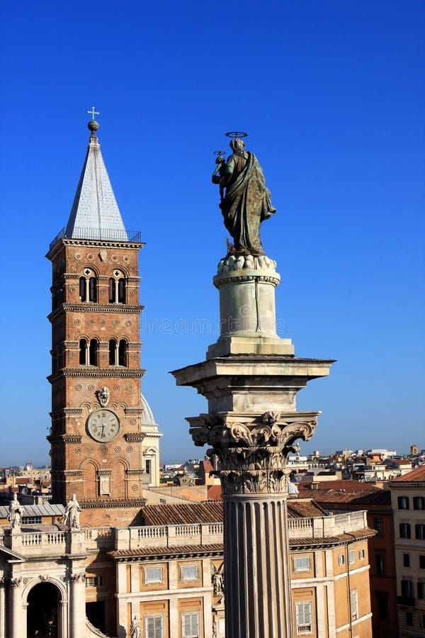 Basilica di Santa Maria Maggiore in Rome, Italy. The Basilica di Santa Maria Maggiore, is a Papal major basilica and the largest Catholic Marian church in Rome stock photography
