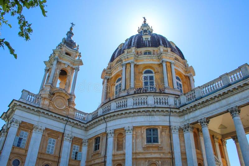Basilica Di Superga, een barokke kerk op de heuvels van Turijn Turijn, Italië, Europa stock afbeelding