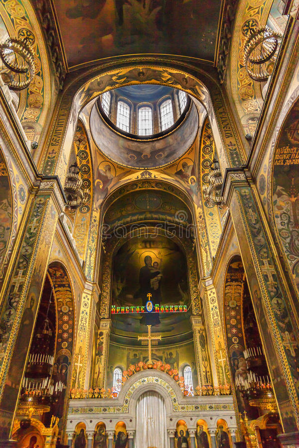 Basilica Dome Saint Volodymyr Cathedral Kiev Ukraine. Saint Volodymyr was built between 1882 and 1896. It is the mother church of the Ukrainian Orthodox church royalty free stock images