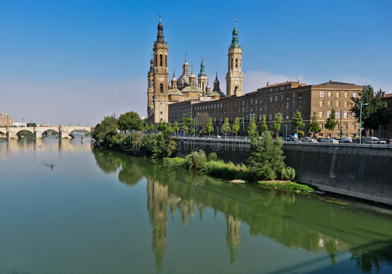 Basilica of El PIlar. View of Basilica of El PIlar, Zaragoza, Spain royalty free stock photography