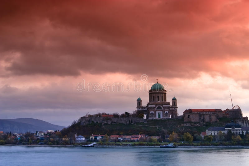 Basilica in Esztergom. View of the Basilica in Esztergom, Hungary royalty free stock photos