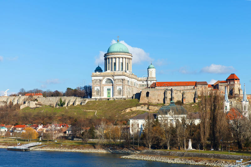 The Basilica in Esztergom. Beautiful view of the Basilica in Esztergom, Hungary stock image