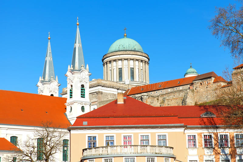 The Basilica in Esztergom. Beautiful view of the Basilica in Esztergom, Hungary royalty free stock photography