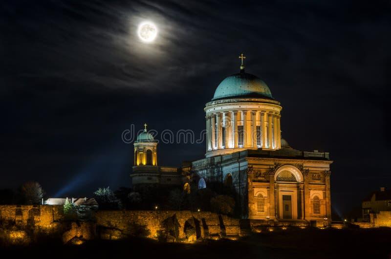 Basilica Esztergom. Hungary full moon royalty free stock images