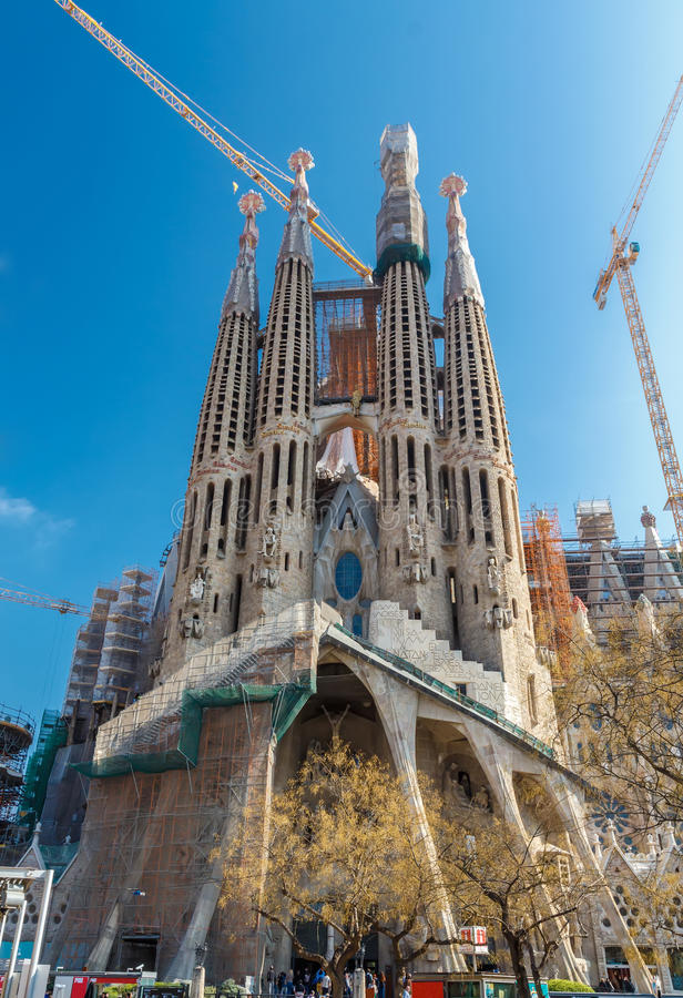 Basilica and Expiatory Church of the Holy Family (Sagrada Familia). stock photo