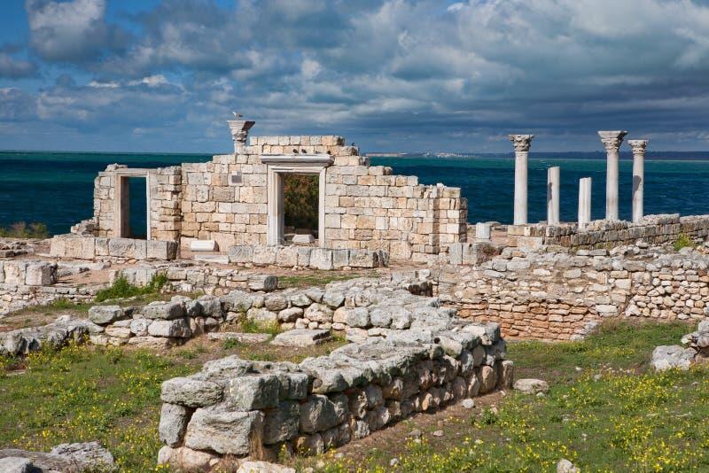 Basilica greca a Chersonesus fotografia stock