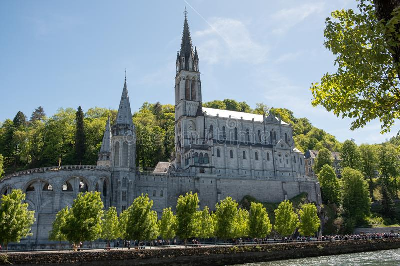 Upper Basilica - Lourdes France royalty free stock images
