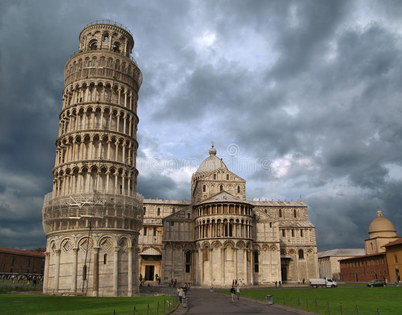 Basilica and the leaning tower. Pisa. Italia royalty free stock photography