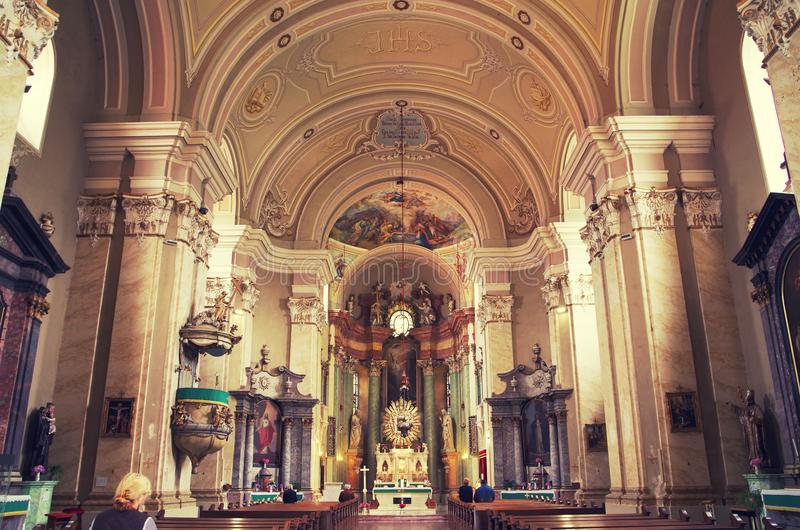 """Interior of the church Maria Radna, consecrated in honor of the Blessed Virgin Mary. Basilica """"Minor Maria"""" is monastery and place of pilgrimage stock image"""